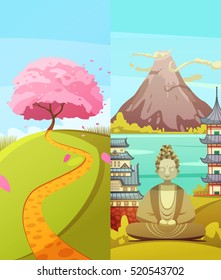 Japanese culture 2 vertical retro cartoon banners set with cherry blossom fuji mountain and buddha isolated vector illustration
