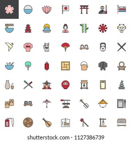Japanese culture elements filled outline icons set, line vector symbol collection, linear colorful pictogram pack. Signs, logo illustration, Set includes icons as Cherry blossom sakura, Japan Noodles