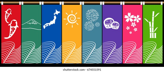 Japanese curtain graphic vector