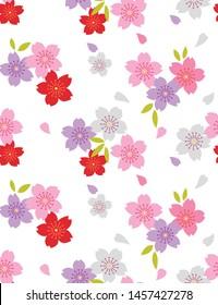 Japanese Cute Cherry Blossom Seamless Pattern