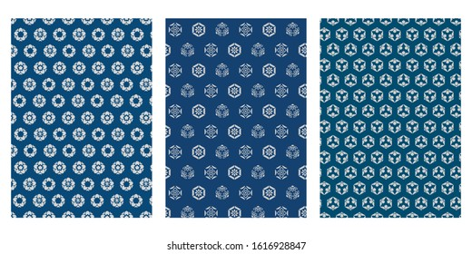 Japanese Cute Tiny Blossom, Hexagon Flower Abstract Vector Background Collection