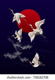 Japanese dancing cranes on the background of a red circle