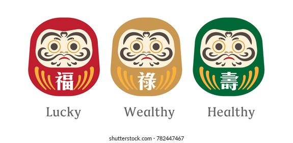 Japanese Daruma Doll icon with Happy New Year texts. Chinese text translation: Lucky, Wealthy and Healthy.