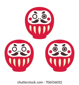 Japanese Daruma doll, set of three: one-eyed, with both eyes and without. Traditional Zen buddhist good luck holiday gift. Simple vector illustration.