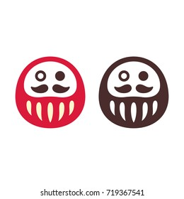 Japanese Daruma doll, simple icon or logo. Stylized one-eyed Bodhidharma symbol, vector illustration.