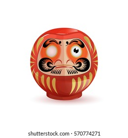 Japanese Daruma doll. Vector illustration on white background. Cartoon style. Isolated.