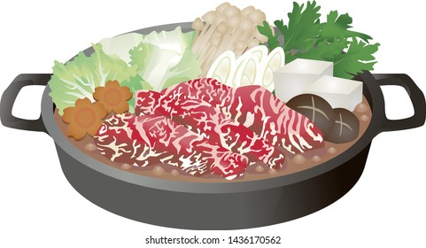 Japanese delicious sukiyaki dish illustration