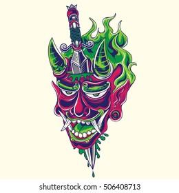 Japanese demon face with dagger tattoo design