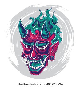 Japanese demon face tattoo design