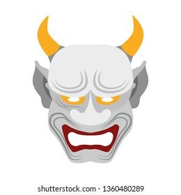 Japanese demon mask, Hannya. Isolated vector illustration
