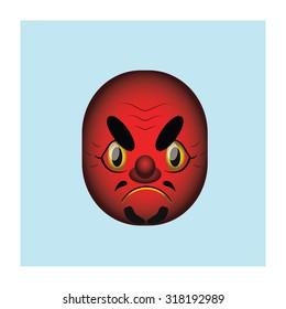 Japanese demon mask illustration