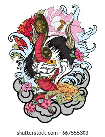 Japanese Demon mask with king cobra tattoo design.hand drawn Oni mask with chrysanthemum flower and koi fish with lotus tattoo.coloring book japanese style.Traditional asian tattoo art.