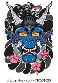 Japanese demon mask with Lotus,chrysanthemum,peony and cherry flower tattoo. Japanese traditional tattoo design.hand drawn Oni mask with cherry blossom