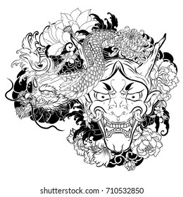 Japanese demon mask with Lotus,chrysanthemum,peony and cherry flower tattoo. Japanese traditional Dragon with oni mask tattoo design.Outline and doodle style.