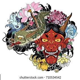 Japanese demon mask with Lotus,chrysanthemum,peony and cherry flower tattoo. Japanese traditional Dragon with oni mask tattoo design.