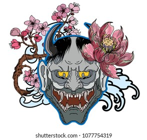 Japanese demon mask with peony and Cherry blossom on wave tattoo.Hanya mask and scary tattoo.