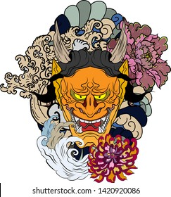 Japanese Demon's mask tattoo design full back body.The Oni mask with water splash and peony flower,cherry blossom and peach blossom on cloud background.