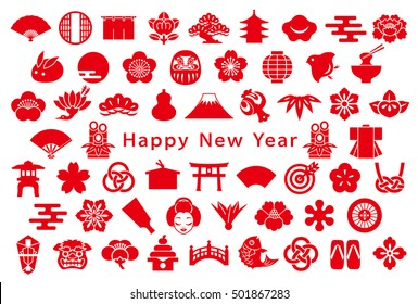 Japanese design icons. new year card.