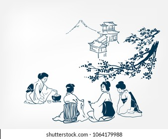 japanese design tea ceremony background women