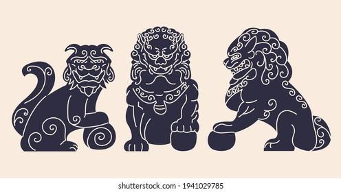 Japanese dog ancient statue flat cartoon illustration. Guardian animal Komainu dog banner design. Traditional asian symbol background.