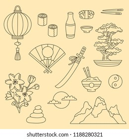 Japanese doodle line traditional icons symbols vector set