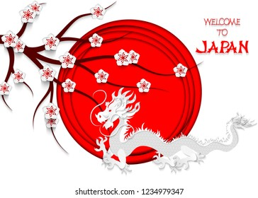 Japanese dragon cut out of paper on the background of the Japanese flag, cherry blossoms and hand lettering Welcome to Japan. 3d vector illustration of the Japanese flag.