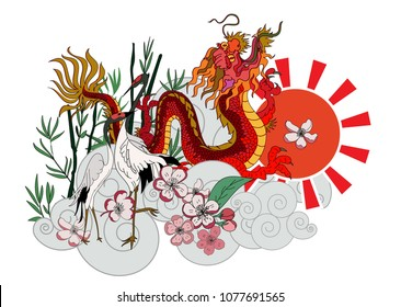 Japanese Dragon and Heron bird with Sakura floer on cloud background.colorful Chinese tattoo design.