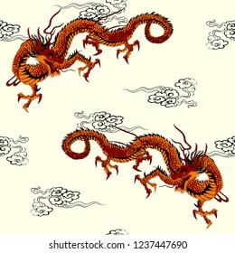 Japanese Dragon Seamless Pattern Background