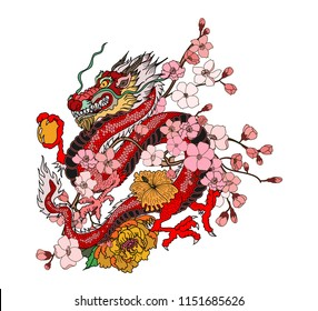 Japanese Dragon tattoo with cherry flower and peach flower tattoo.illustration of asia dragon for printing. Dragon tattoo.