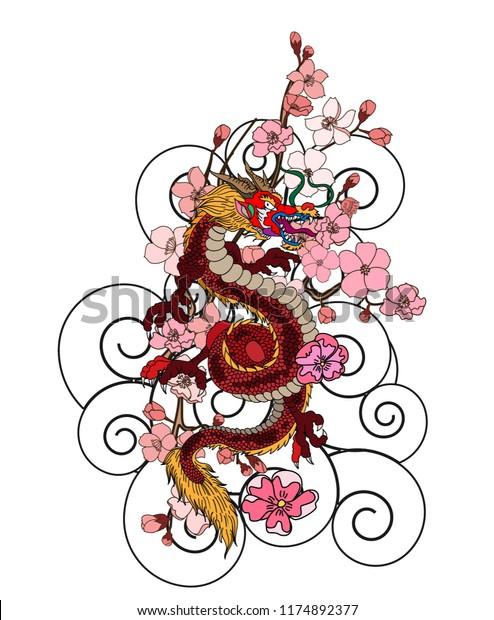 Japanese Dragon Tattoo Cherry Flower Peach Stock Vector