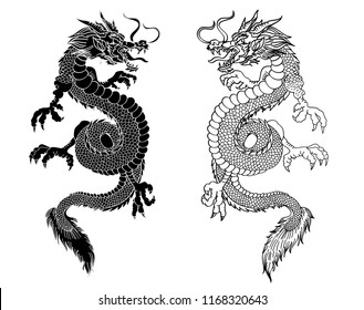 Japanese dragon tattoo isolate on white background.