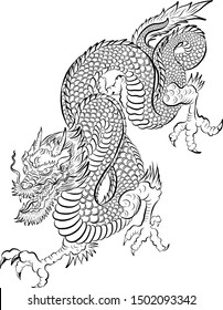 Japanese dragon tattoo isolated on white background.illustration of asia dragon for printing.Dragon Chinese character.Symbol of asia.Vector art design for coloring book and T-shirt.