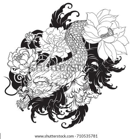 Japanese Dragon Tattoo Lotuschrysanthemumpeony Cherry Flowerhand