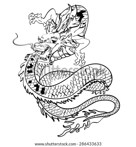 Japanese Dragon Tattoo Vector Format Very Stock Vector Royalty Free