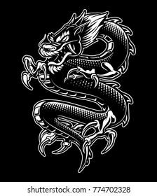 Japanese dragon vector illustration. Monochrome design, isolated on dark background.