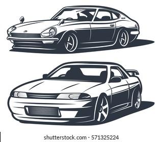 Japanese drift cars, monochrome isolate vector