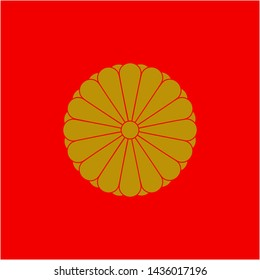 Japanese emperor flag. Gold chrysanthemum seal pattern on red background.