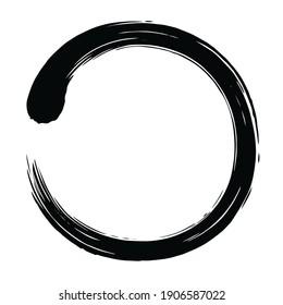 Japanese Enso Zen Circle Brush Vector Art Illustration