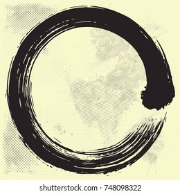 Japanese Enso Zen Circle Brush Vector Illustration Black Ink on Old Paper Vector