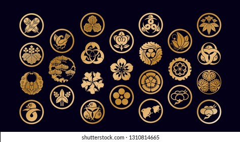Japanese Family Crests symbol. KAMON (家紋) are Japanese emblems used to decorate and identify an individual. Gold geometric icon and Japan logo.