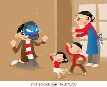 A Japanese family plays a traditional custom game of bean throwing at home at the first day of springs to pray for good luck. Father acts as devil and two kids throw beans to expel him.