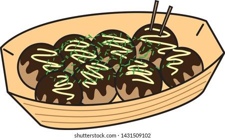 Japanese famous food takoyaki (takoyaki is food contains octopus put in flour balls heated.)
