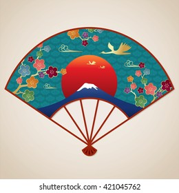 Japanese fan with cherry blossom and fuji mountain. vector illustration.