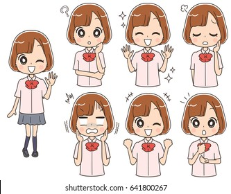 Japanese female high school students have various expressions
