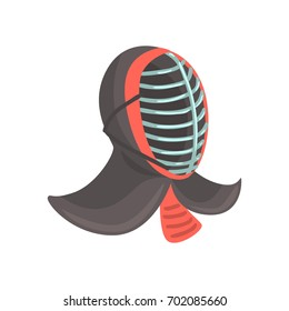 Japanese fencing mask to practice kendo, Japanese martial art cartoon vector Illustration
