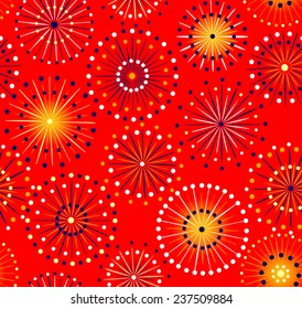 Japanese festival seamless red fireworks pattern