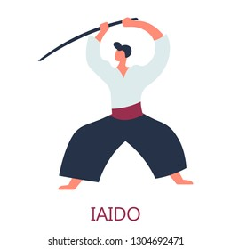 Japanese fighting art sword attack isolated male character in kimono vector oriental fighter or warrior with weapon training and exercising fencing skill sport and physical activity Japan culture.