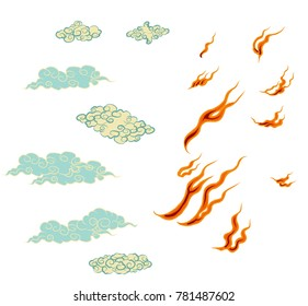 Japanese fire tattoo.Hand drawn red fire vector set.Chinese cloud isolate vector.