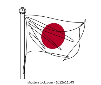 Japanese Flag Continuous Line Vector