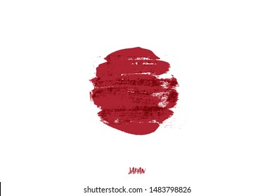 Japanese flag stylized vector illustration. Red paint dry brush stroke circle on white background. Handwritten Japan lettering. Oriental country national emblem typography with grunge style sun symbol